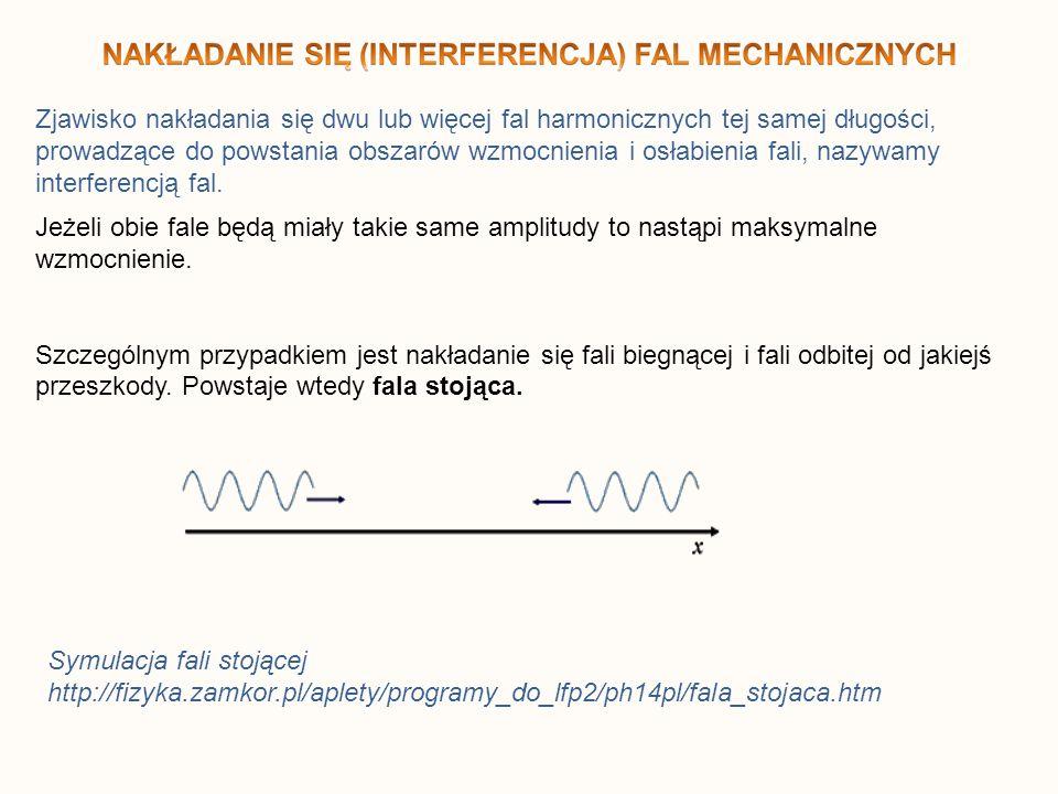 Zjawisko nakładania się dwu lub więcej fal harmonicznych tej samej długości, prowadzące do powstania obszarów wzmocnienia i osłabienia fali, nazywamy interferencją fal.