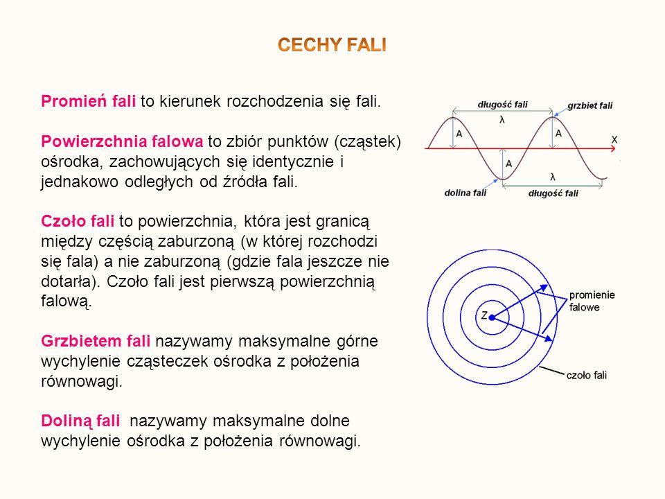 Promień fali to kierunek rozchodzenia się fali. Powierzchnia falowa to zbiór punktów (cząstek) ośrodka, zachowujących się identycznie i jednakowo odle