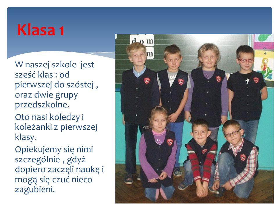 W naszej szkole jest sześć klas : od pierwszej do szóstej, oraz dwie grupy przedszkolne. Oto nasi koledzy i koleżanki z pierwszej klasy. Opiekujemy si