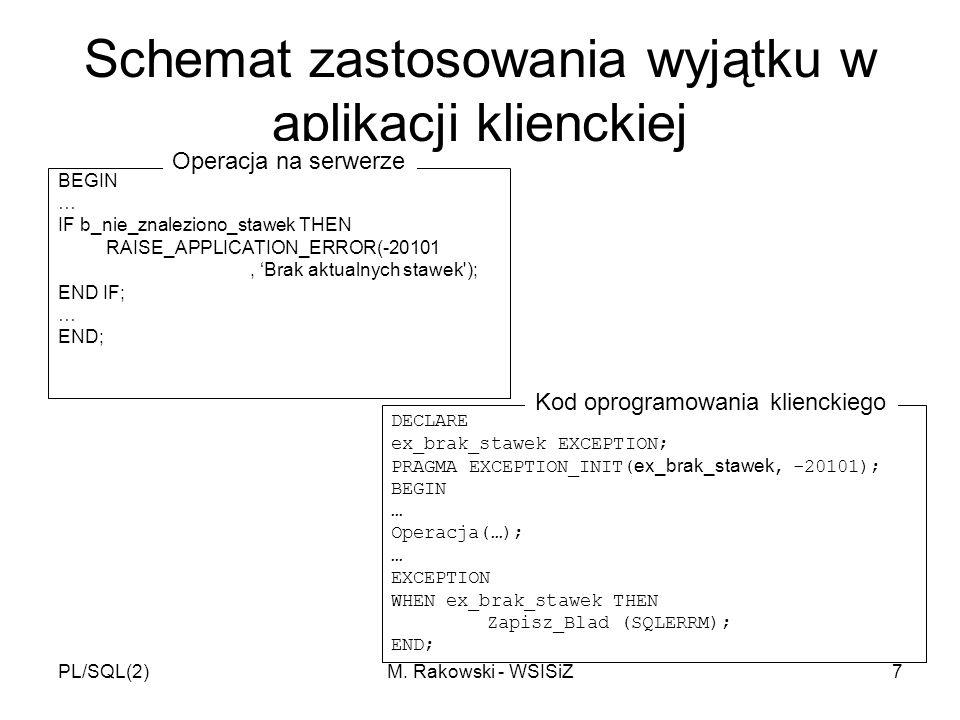 PL/SQL(2)M. Rakowski - WSISiZ7 Schemat zastosowania wyjątku w aplikacji klienckiej BEGIN … IF b_nie_znaleziono_stawek THEN RAISE_APPLICATION_ERROR(-20