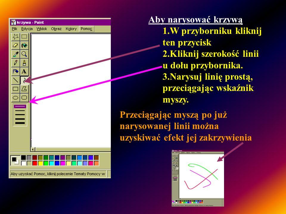 Przycisk narzędzia KRZYWA Styl linii Paint posiada narzędzie Krzywa, dzięki któremu można rysować pofalowane linie