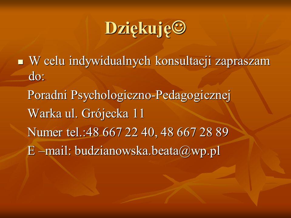 Dziękuję Dziękuję W celu indywidualnych konsultacji zapraszam do: W celu indywidualnych konsultacji zapraszam do: Poradni Psychologiczno-Pedagogicznej