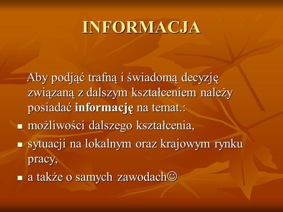 INFORMACJA Aby podjąć trafną i świadomą decyzję związaną z dalszym kształceniem należy posiadać informację na temat.: Aby podjąć trafną i świadomą dec