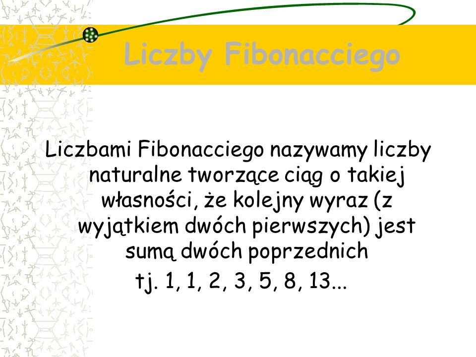 Liczby Fibonacciego Liczbami Fibonacciego nazywamy liczby naturalne tworzące ciąg o takiej własności, że kolejny wyraz (z wyjątkiem dwóch pierwszych) jest sumą dwóch poprzednich tj.