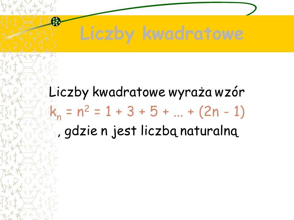 Liczby kwadratowe Liczby kwadratowe wyraża wzór k n = n 2 = 1 + 3 + 5 +...