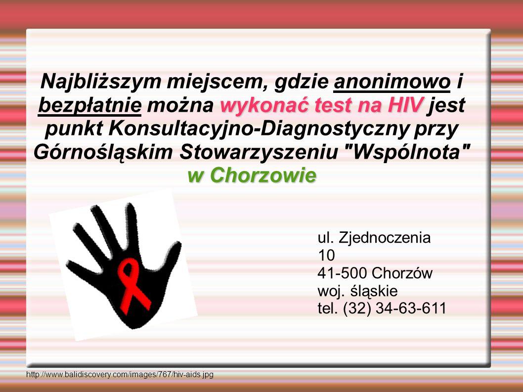 wykonać test na HIV w Chorzowie Najbliższym miejscem, gdzie anonimowo i bezpłatnie można wykonać test na HIV jest punkt Konsultacyjno-Diagnostyczny pr