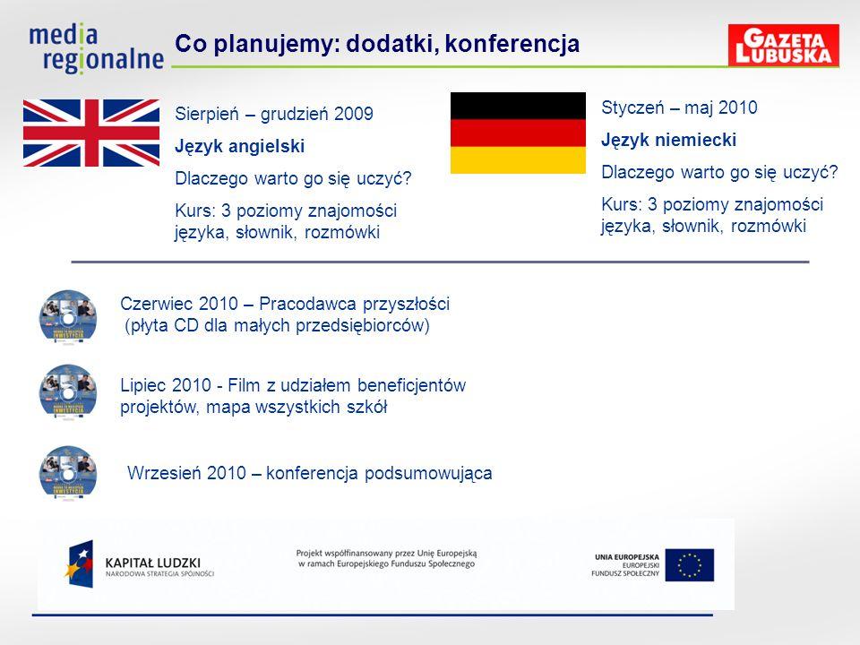 Co planujemy: dodatki, konferencja Sierpień – grudzień 2009 Język angielski Dlaczego warto go się uczyć? Kurs: 3 poziomy znajomości języka, słownik, r