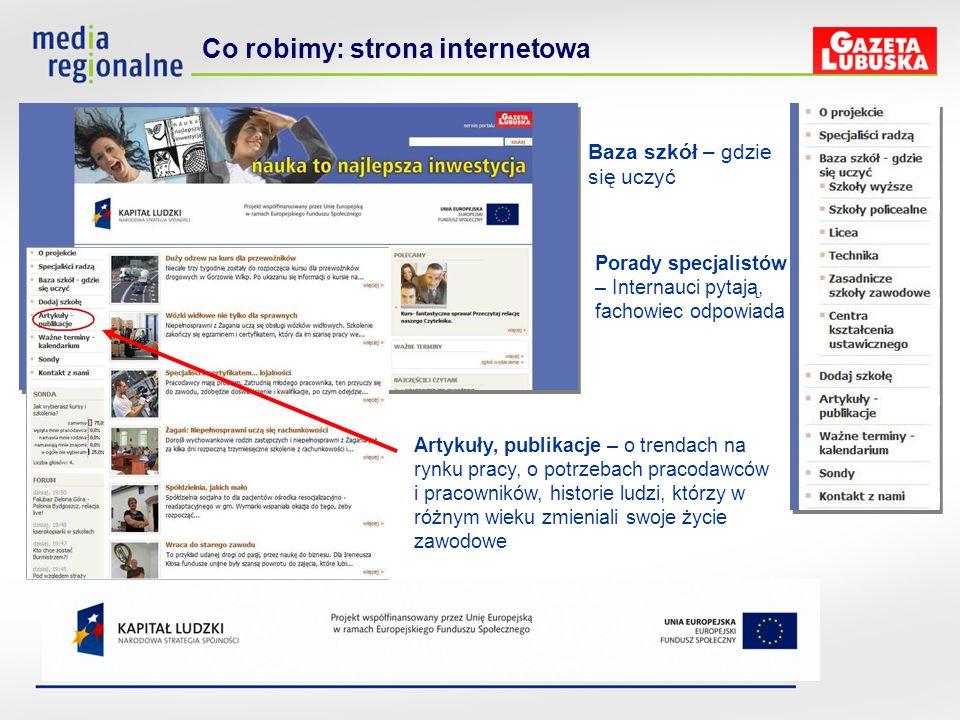 Co robimy: strona internetowa Artykuły, publikacje – o trendach na rynku pracy, o potrzebach pracodawców i pracowników, historie ludzi, którzy w różny