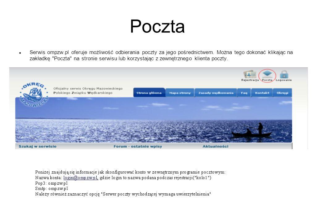 Poczta Serwis ompzw.pl oferuje możliwość odbierania poczty za jego pośrednictwem. Można tego dokonać klikając na zakładkę