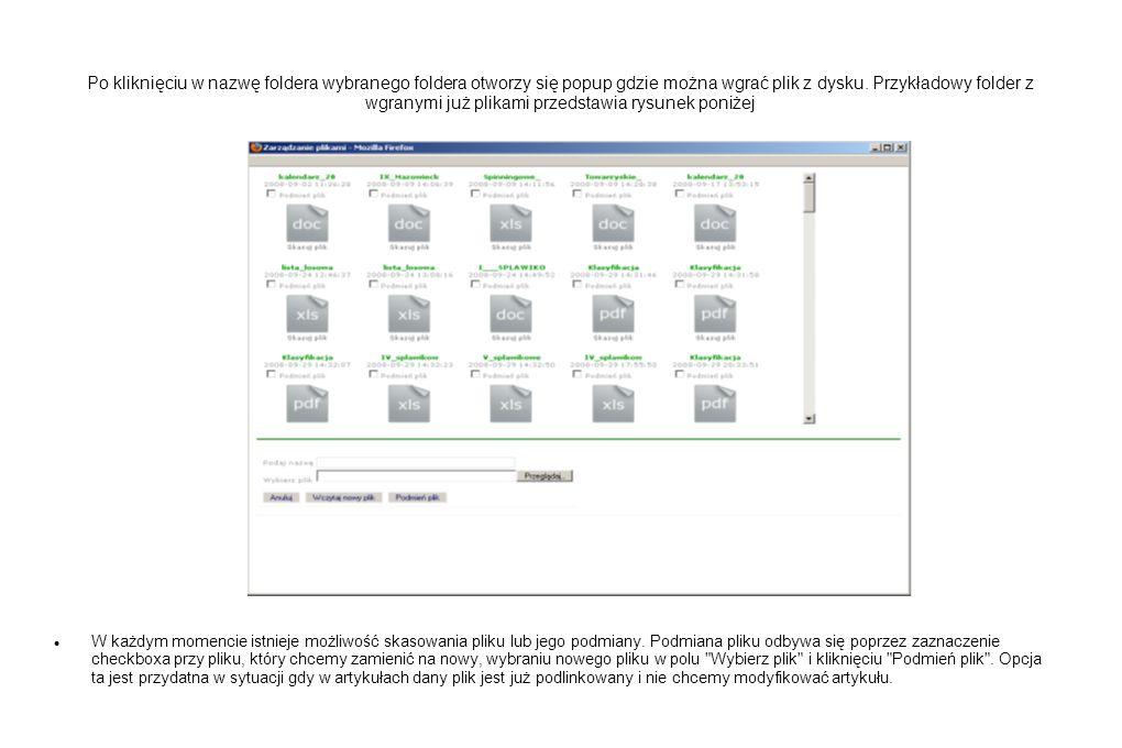 Po kliknięciu w nazwę foldera wybranego foldera otworzy się popup gdzie można wgrać plik z dysku. Przykładowy folder z wgranymi już plikami przedstawi