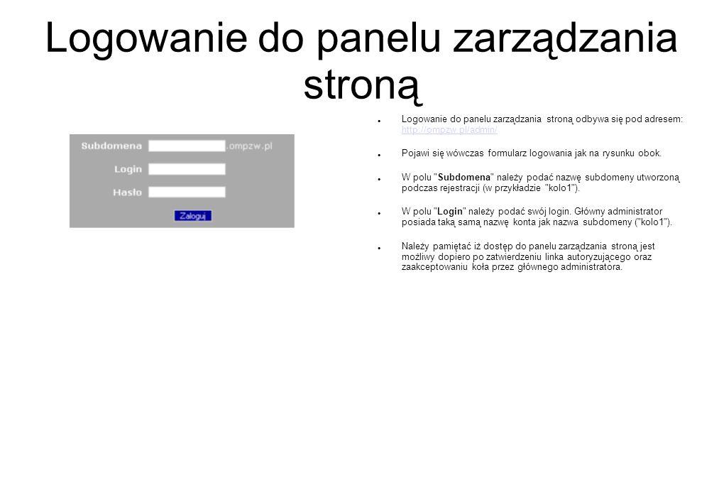 Logowanie do panelu zarządzania stroną Logowanie do panelu zarządzania stroną odbywa się pod adresem: http://ompzw.pl/admin/ http://ompzw.pl/admin/ Po
