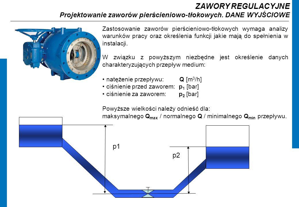 ZAWORY REGULACYJNE Projektowanie zaworów pierścieniowo-tłokowych.