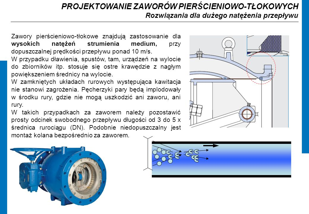 PROJEKTOWANIE ZAWORÓW PIERŚCIENIOWO-TŁOKOWYCH Rozwiązania dla dużego natężenia przepływu Zawory pierścieniowo-tłokowe znajdują zastosowanie dla wysokich natężeń strumienia medium, przy dopuszczalnej prędkości przepływu ponad 10 m/s.