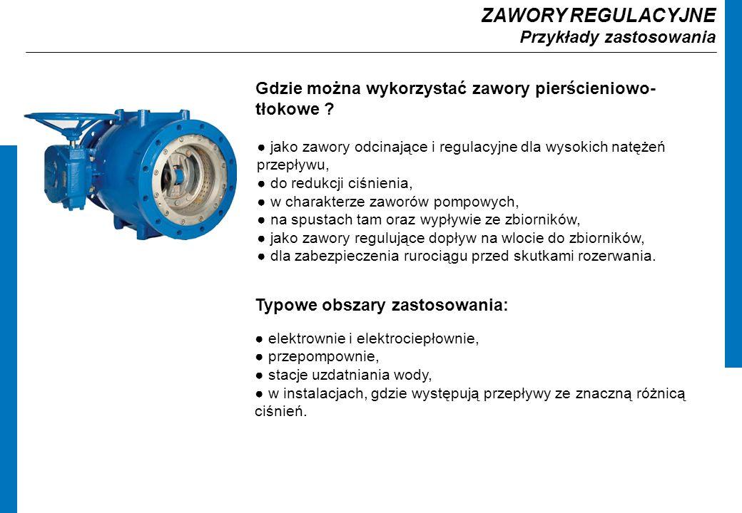 ZAWORY REGULACYJNE Przykłady zastosowania Gdzie można wykorzystać zawory pierścieniowo- tłokowe .