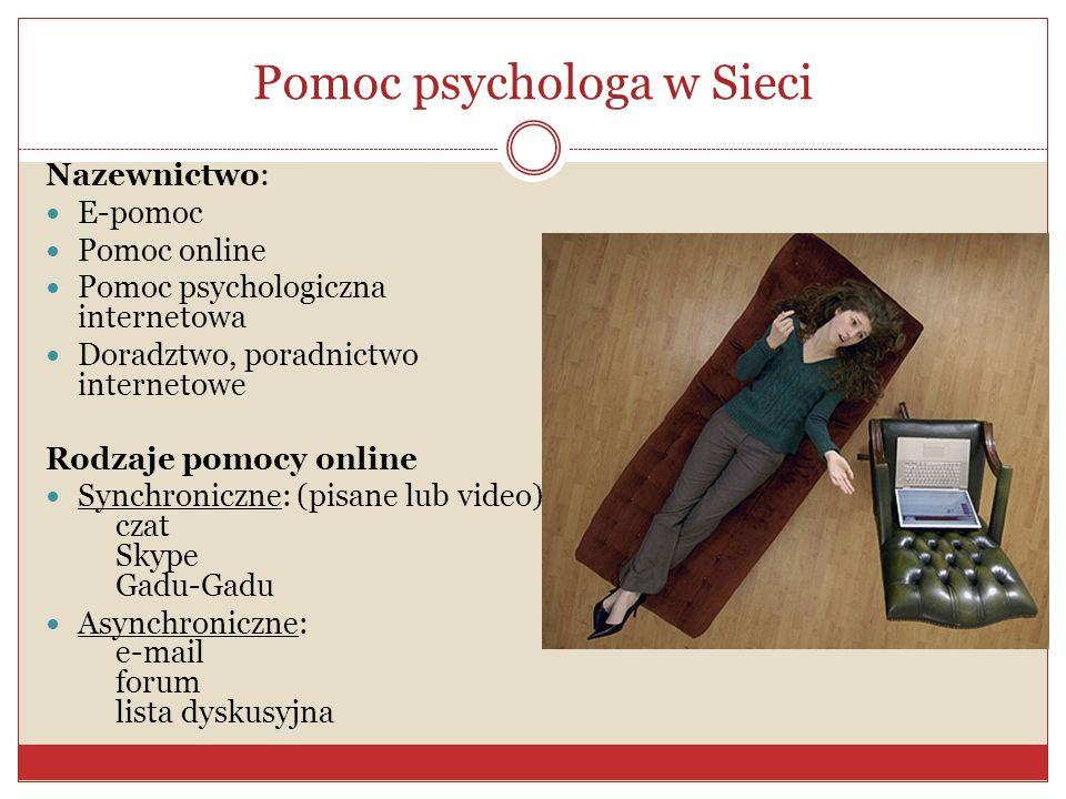 Pomoc psychologa w Sieci Nazewnictwo: E-pomoc Pomoc online Pomoc psychologiczna internetowa Doradztwo, poradnictwo internetowe Rodzaje pomocy online S