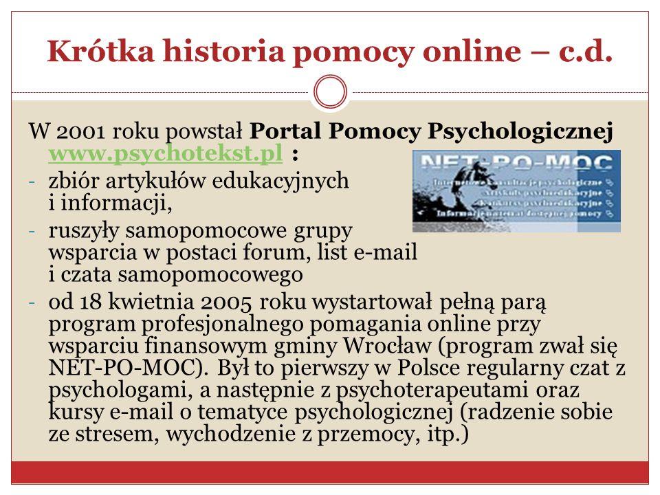 Krótka historia pomocy online – c.d. W 2001 roku powstał Portal Pomocy Psychologicznej www.psychotekst.pl : www.psychotekst.pl - zbiór artykułów eduka