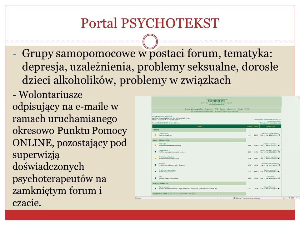 Portal PSYCHOTEKST - Grupy samopomocowe w postaci forum, tematyka: depresja, uzależnienia, problemy seksualne, dorosłe dzieci alkoholików, problemy w