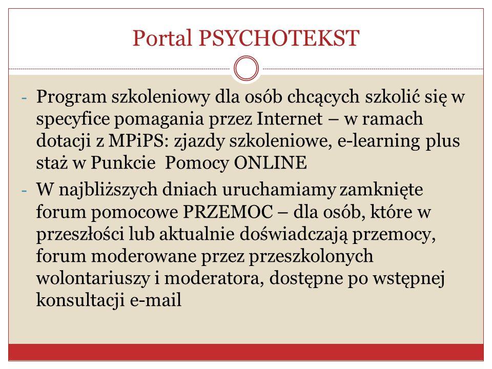 Portal PSYCHOTEKST - Program szkoleniowy dla osób chcących szkolić się w specyfice pomagania przez Internet – w ramach dotacji z MPiPS: zjazdy szkolen