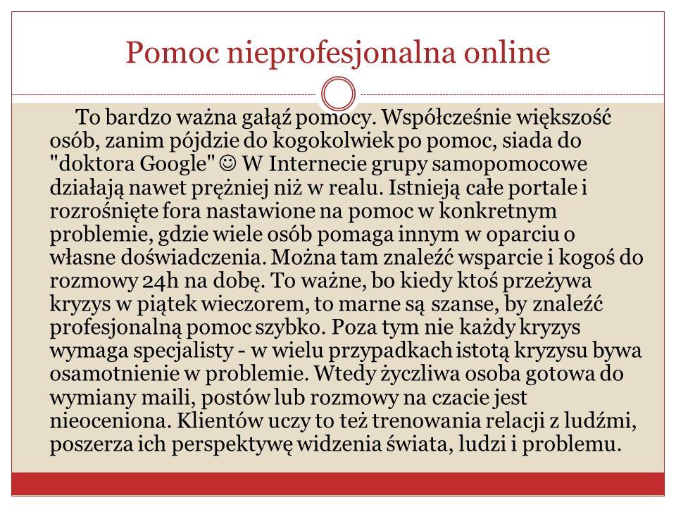 Pomoc nieprofesjonalna online To bardzo ważna gałąź pomocy. Współcześnie większość osób, zanim pójdzie do kogokolwiek po pomoc, siada do