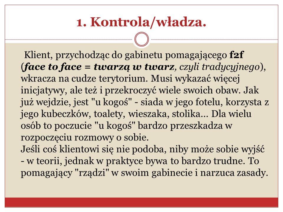 1. Kontrola/władza. Klient, przychodząc do gabinetu pomagającego f2f (face to face = twarzą w twarz, czyli tradycyjnego), wkracza na cudze terytorium.