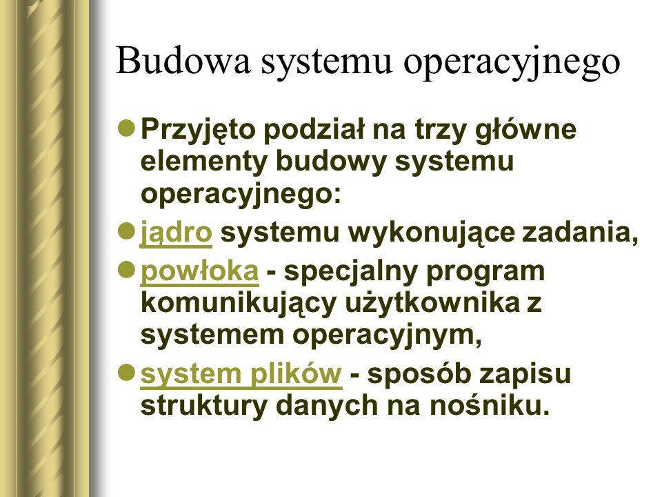 Budowa systemu operacyjnego Przyjęto podział na trzy główne elementy budowy systemu operacyjnego: jądro systemu wykonujące zadania, jądro powłoka - specjalny program komunikujący użytkownika z systemem operacyjnym, powłoka system plików - sposób zapisu struktury danych na nośniku.