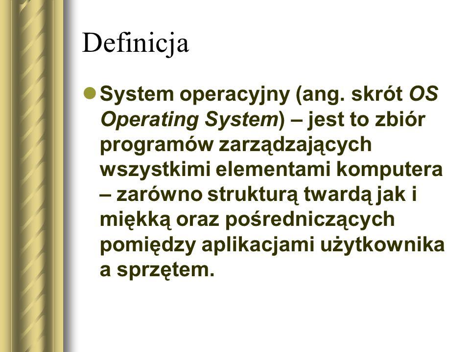 Definicja System operacyjny (ang. skrót OS Operating System) – jest to zbiór programów zarządzających wszystkimi elementami komputera – zarówno strukt