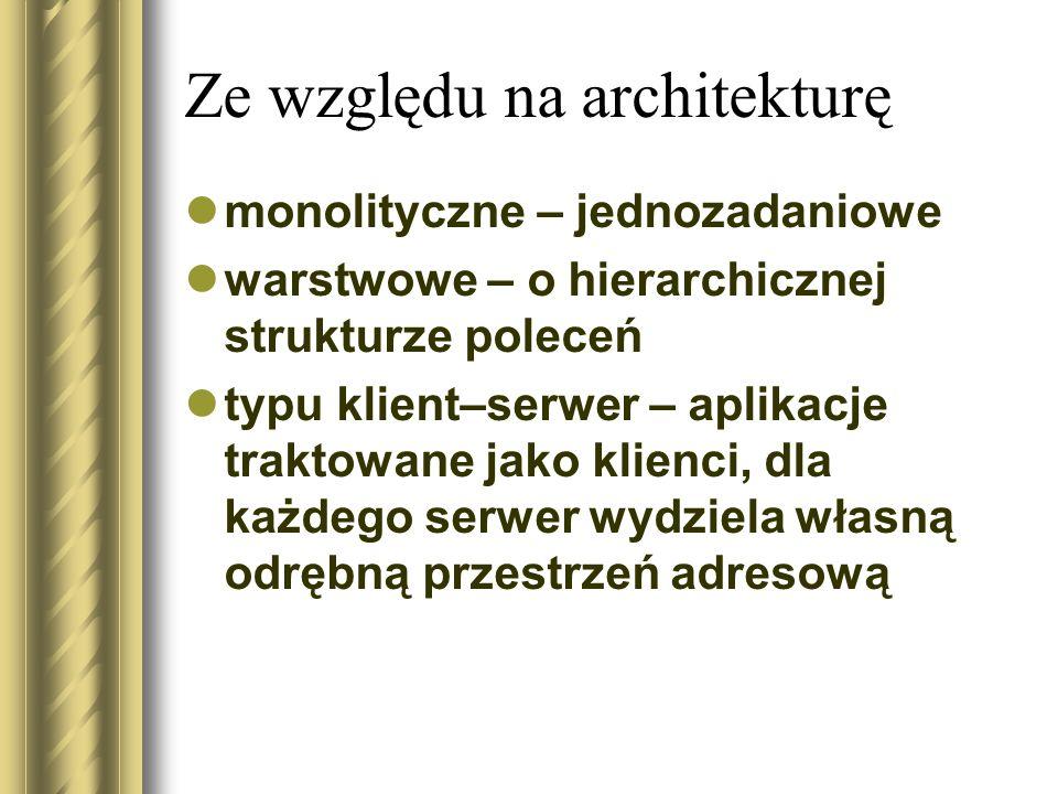 Ze względu na architekturę monolityczne – jednozadaniowe warstwowe – o hierarchicznej strukturze poleceń typu klient–serwer – aplikacje traktowane jako klienci, dla każdego serwer wydziela własną odrębną przestrzeń adresową