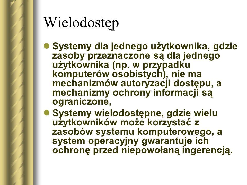 Wielodostęp Systemy dla jednego użytkownika, gdzie zasoby przeznaczone są dla jednego użytkownika (np. w przypadku komputerów osobistych), nie ma mech