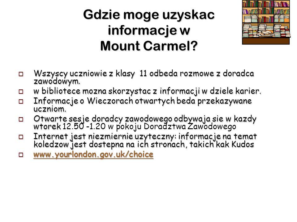 Gdzie moge uzyskac informacje w Mount Carmel.