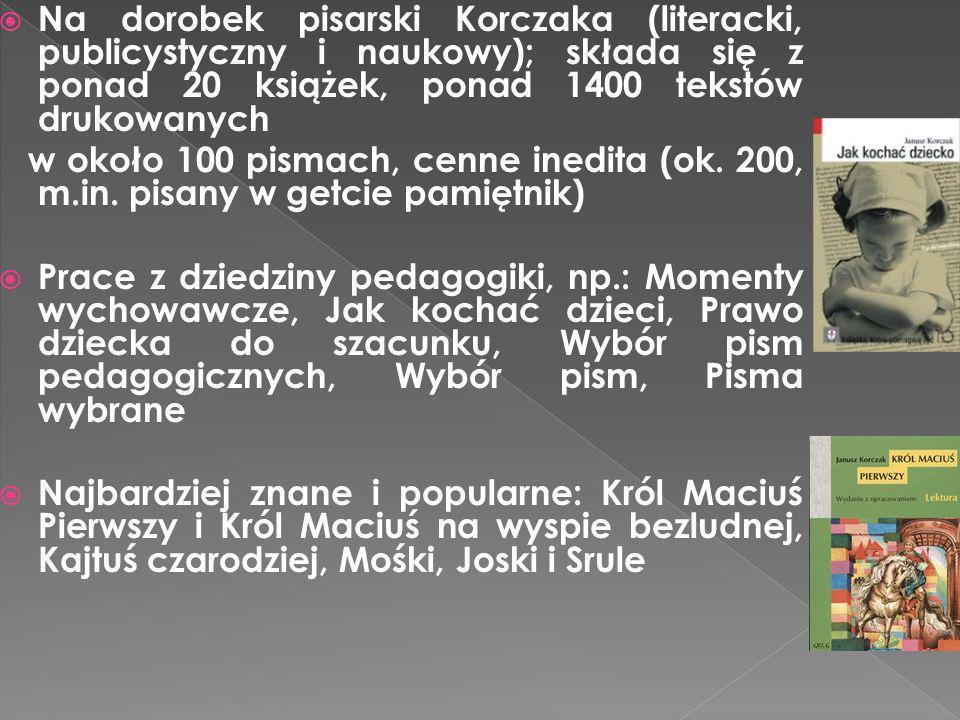 Na dorobek pisarski Korczaka (literacki, publicystyczny i naukowy); składa się z ponad 20 książek, ponad 1400 tekstów drukowanych w około 100 pismach,