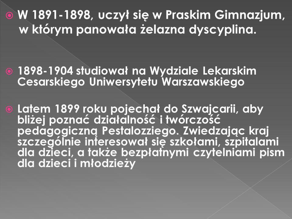 W 1891-1898, uczył się w Praskim Gimnazjum, w którym panowała żelazna dyscyplina. 1898-1904 studiował na Wydziale Lekarskim Cesarskiego Uniwersytetu W