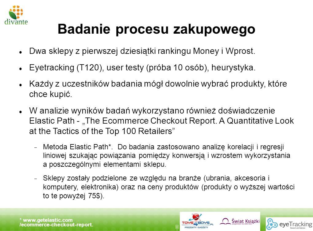www.divante.pl Badanie procesu zakupowego Dwa sklepy z pierwszej dziesiątki rankingu Money i Wprost. Eyetracking (T120), user testy (próba 10 osób), h