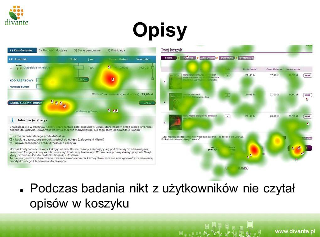 www.divante.pl Opisy Podczas badania nikt z użytkowników nie czytał opisów w koszyku