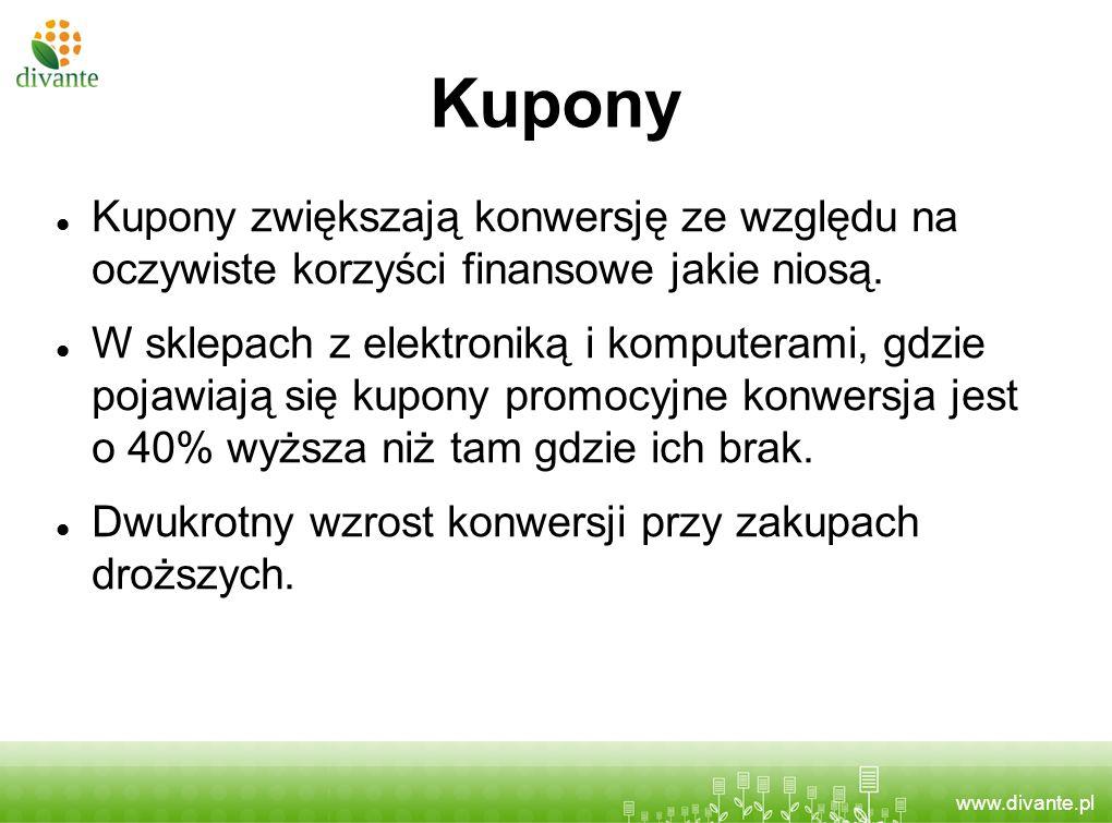 www.divante.pl Kupony Kupony zwiększają konwersję ze względu na oczywiste korzyści finansowe jakie niosą. W sklepach z elektroniką i komputerami, gdzi