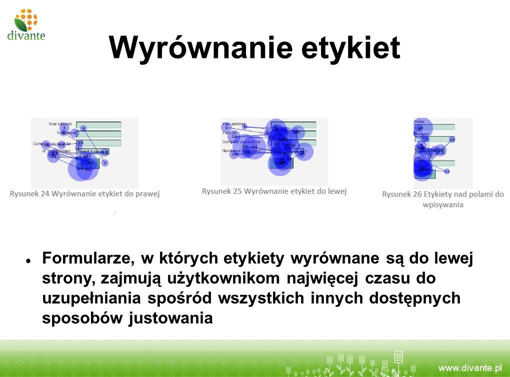 www.divante.pl Wyrównanie etykiet Formularze, w których etykiety wyrównane są do lewej strony, zajmują użytkownikom najwięcej czasu do uzupełniania sp