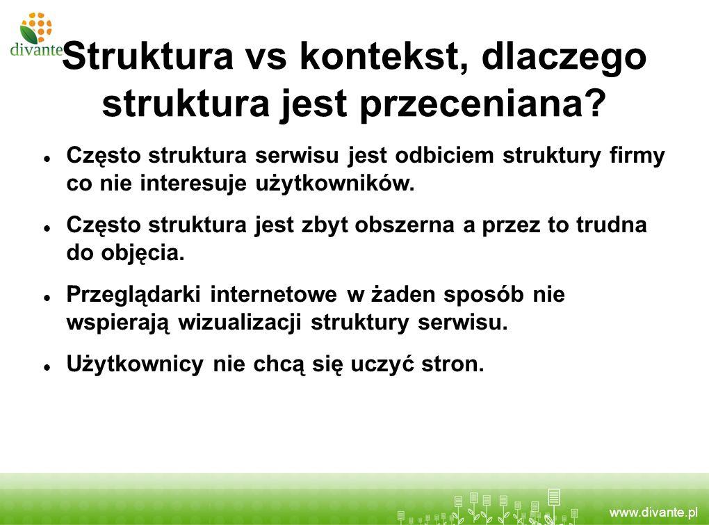 www.divante.pl Struktura vs kontekst, dlaczego struktura jest przeceniana? Często struktura serwisu jest odbiciem struktury firmy co nie interesuje uż