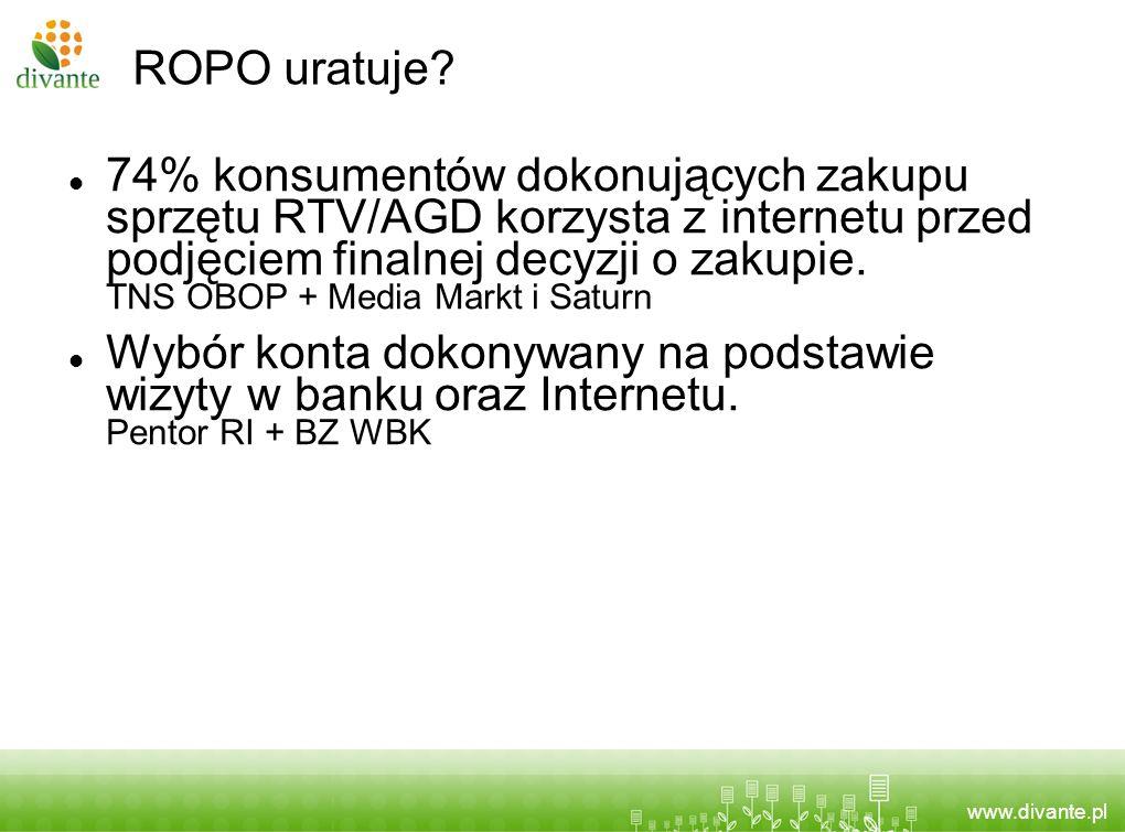 www.divante.pl ROPO uratuje? 74% konsumentów dokonujących zakupu sprzętu RTV/AGD korzysta z internetu przed podjęciem finalnej decyzji o zakupie. TNS