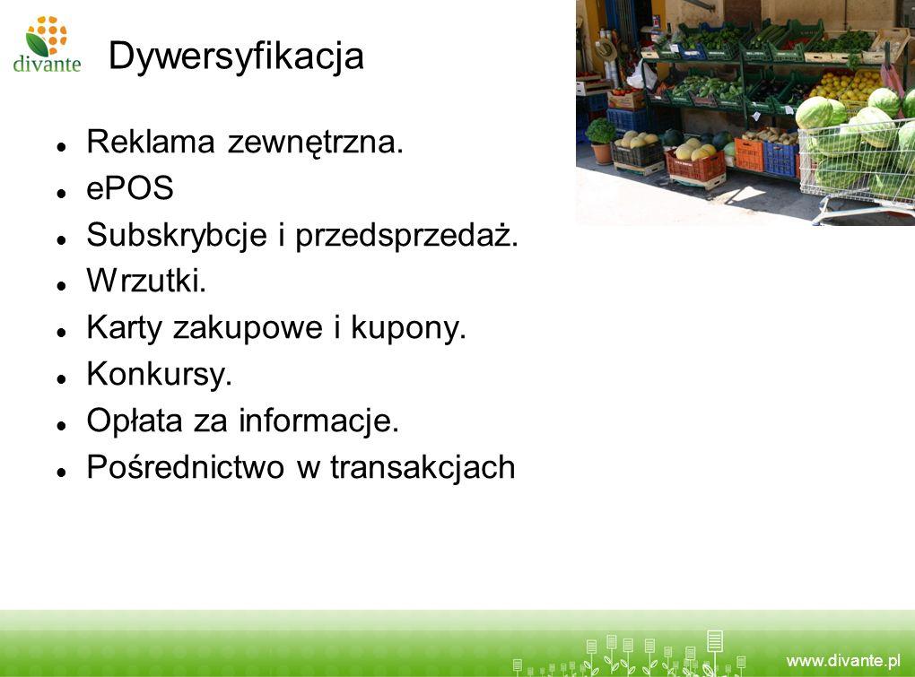 www.divante.pl Dywersyfikacja Reklama zewnętrzna. ePOS Subskrybcje i przedsprzedaż. Wrzutki. Karty zakupowe i kupony. Konkursy. Opłata za informacje.