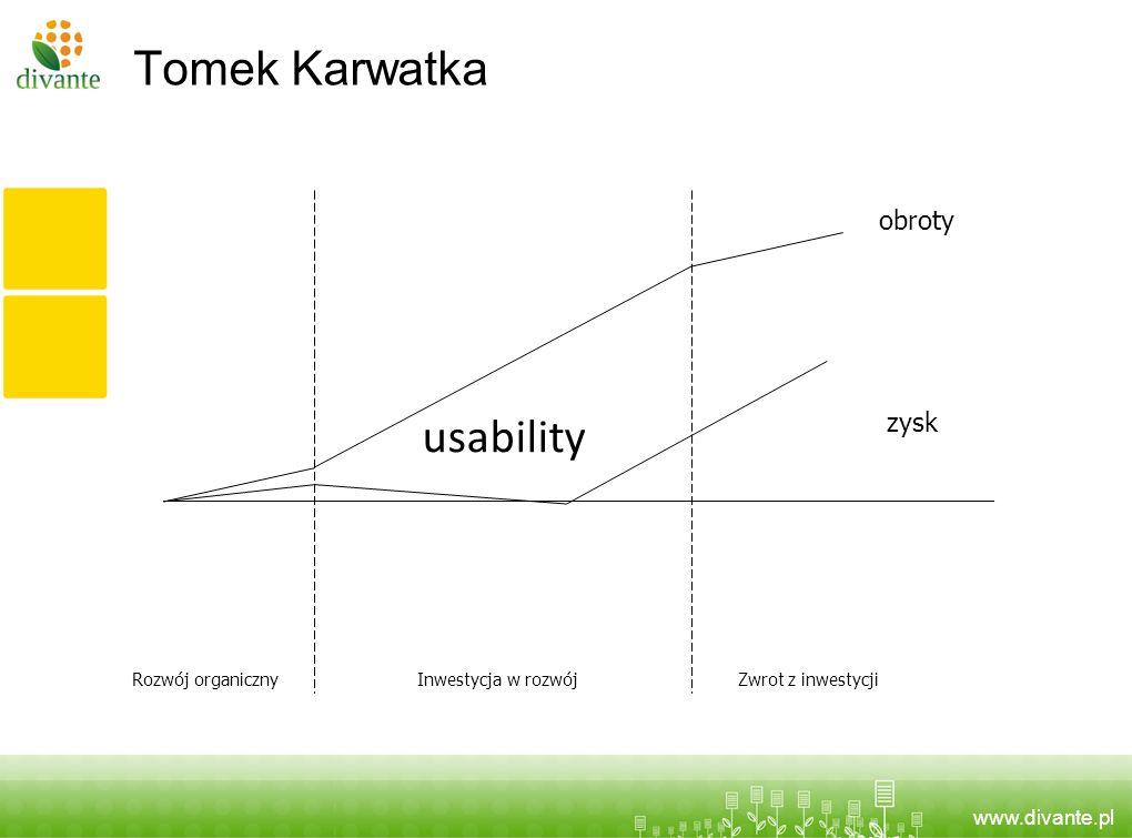 www.divante.pl Tomek Karwatka usability obroty zysk Rozwój organicznyInwestycja w rozwójZwrot z inwestycji