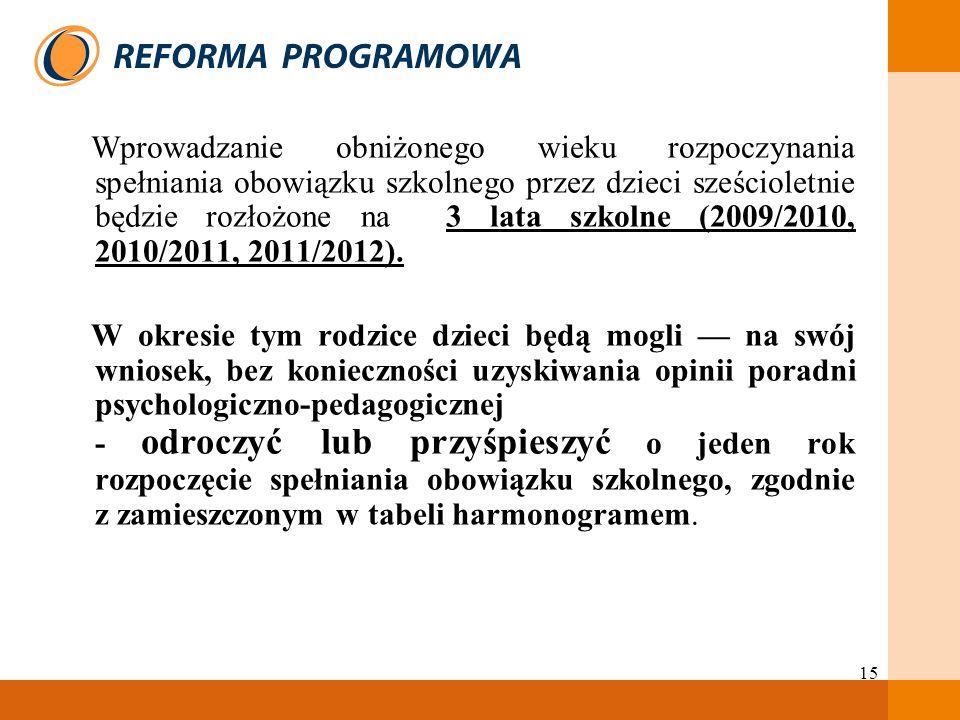 15 Wprowadzanie obniżonego wieku rozpoczynania spełniania obowiązku szkolnego przez dzieci sześcioletnie będzie rozłożone na 3 lata szkolne (2009/2010