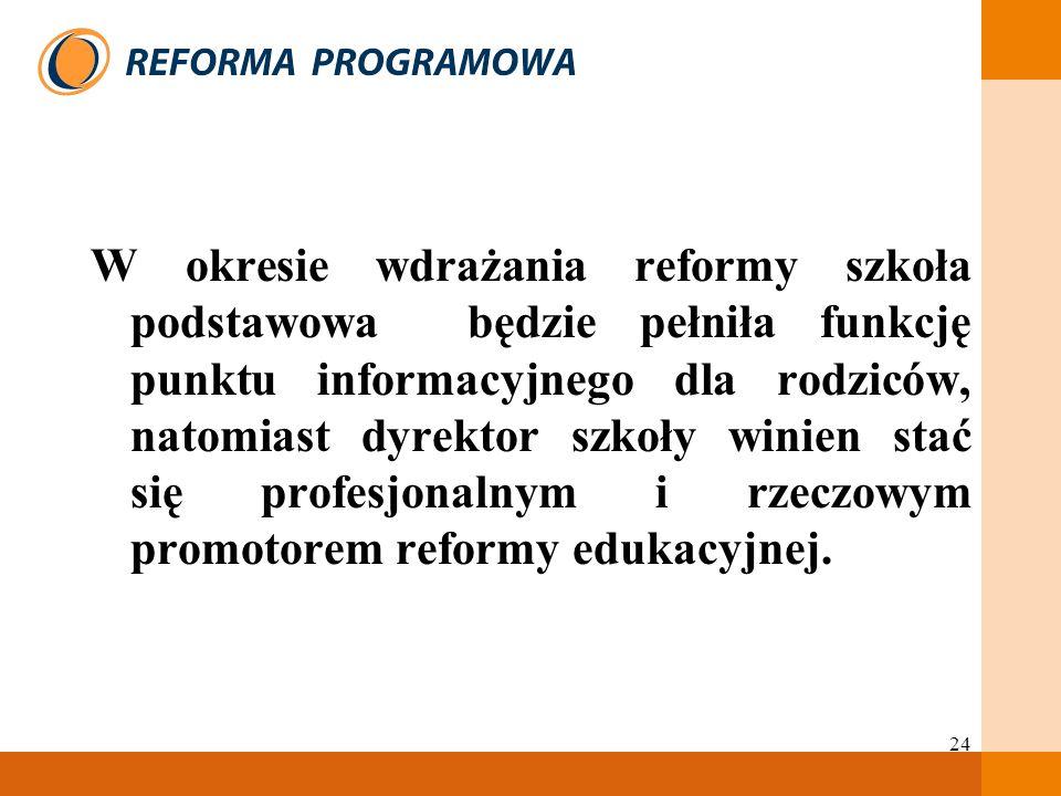 24 W okresie wdrażania reformy szkoła podstawowa będzie pełniła funkcję punktu informacyjnego dla rodziców, natomiast dyrektor szkoły winien stać się