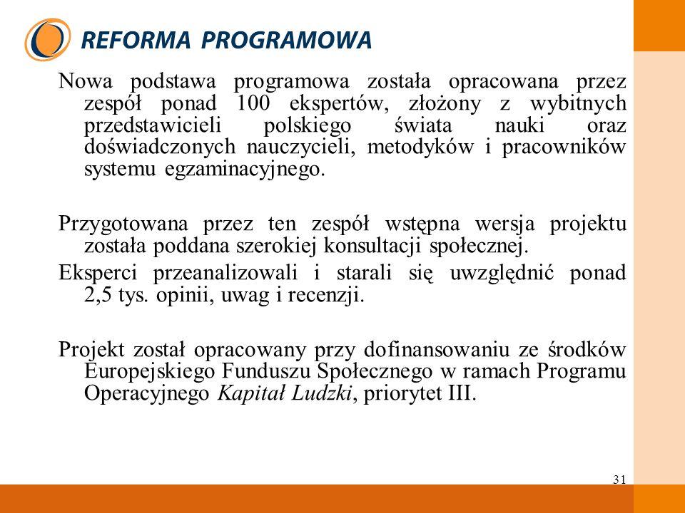 31 Nowa podstawa programowa została opracowana przez zespół ponad 100 ekspertów, złożony z wybitnych przedstawicieli polskiego świata nauki oraz doświ