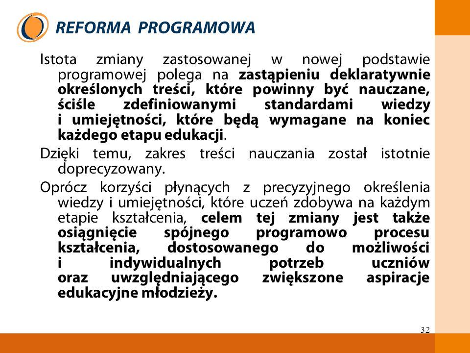 32 Istota zmiany zastosowanej w nowej podstawie programowej polega na zastąpieniu deklaratywnie określonych treści, które powinny być nauczane, ściśle