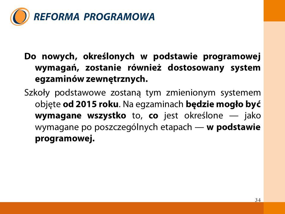 34 Do nowych, określonych w podstawie programowej wymagań, zostanie również dostosowany system egzaminów zewnętrznych. Szkoły podstawowe zostaną tym z