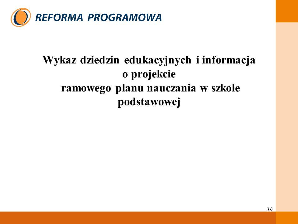 39 Wykaz dziedzin edukacyjnych i informacja o projekcie ramowego planu nauczania w szkole podstawowej