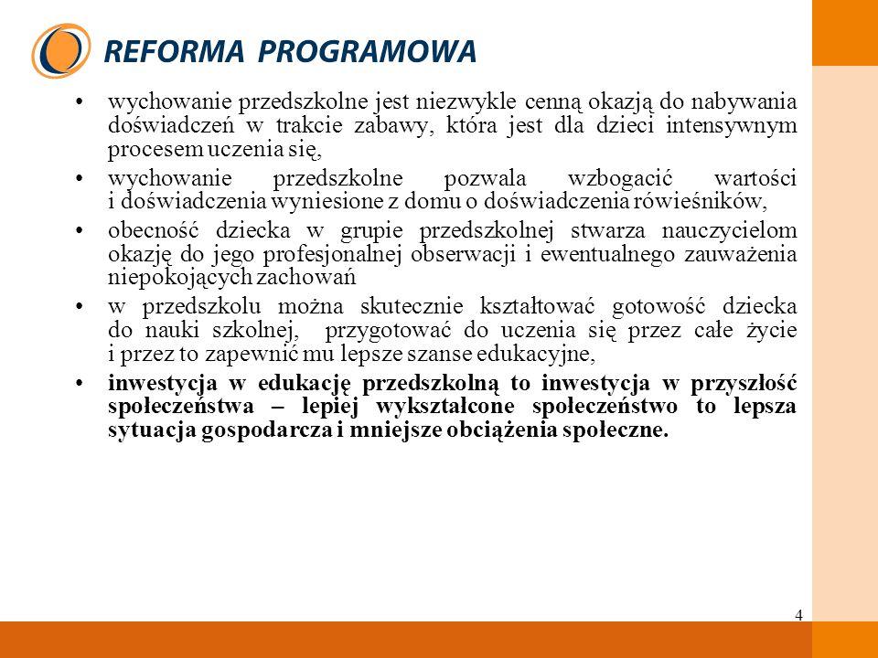 5 Najważniejsze zadania Ministerstwa Edukacji Narodowej dotyczące edukacji przedszkolnej to: upowszechnienie edukacji przedszkolnej dla dzieci w wieku 3–5 lat, zagwarantowanie każdemu dziecku co najmniej rocznej edukacji przedszkolnej, przygotowującej do nauki w szkole, zapewnienie dzieciom lepszych szans edukacyjnych poprzez realizowanie całej podstawy programowej we wszystkich formach organizacyjnych wychowania przedszkolnego, dostosowanie form wychowania przedszkolnego do potrzeb lokalnego środowiska.