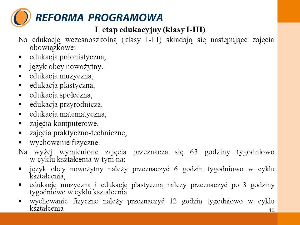 40 I etap edukacyjny (klasy I-III) Na edukację wczesnoszkolną (klasy I-III) składają się następujące zajęcia obowiązkowe: edukacja polonistyczna, języ