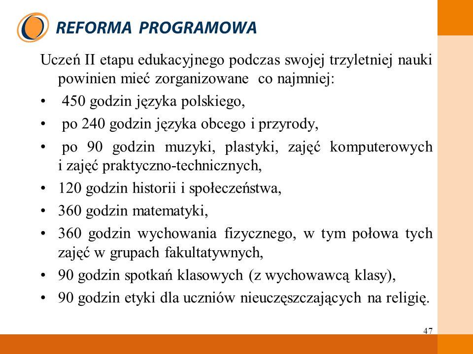 47 Uczeń II etapu edukacyjnego podczas swojej trzyletniej nauki powinien mieć zorganizowane co najmniej: 450 godzin języka polskiego, po 240 godzin ję