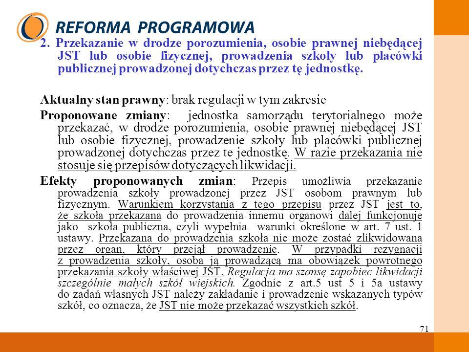71 2. Przekazanie w drodze porozumienia, osobie prawnej niebędącej JST lub osobie fizycznej, prowadzenia szkoły lub placówki publicznej prowadzonej do