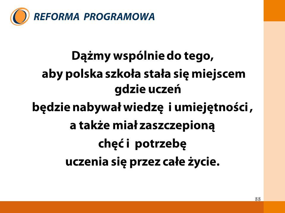 88 Dążmy wspólnie do tego, aby polska szkoła stała się miejscem gdzie uczeń będzie nabywał wiedzę i umiejętności, a także miał zaszczepioną chęć i pot
